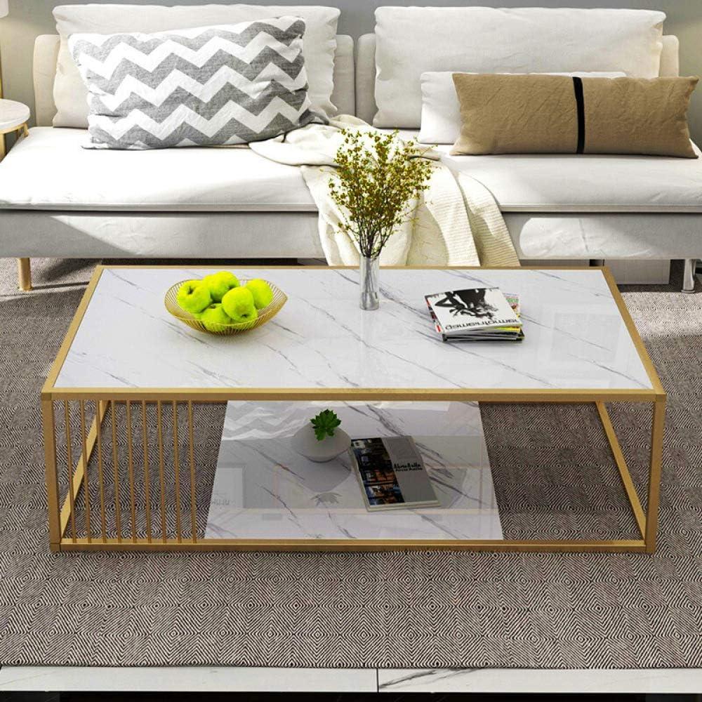 Unisex Moderne salontafel met opbergvak, rechthoekige salontafel met marmeren plaat en metalen frame voor de woonkamer, 47 inch, zwart wit O7szpSp