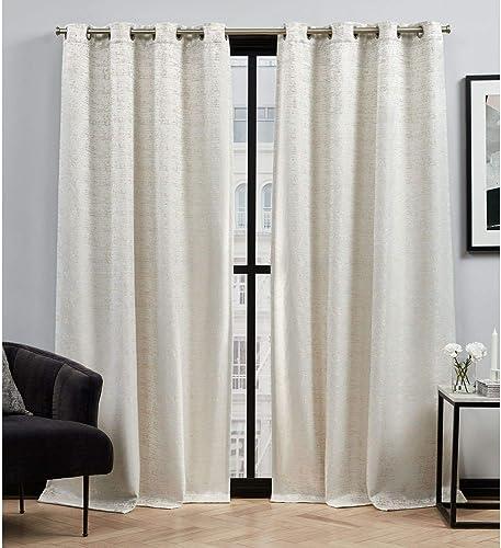 Elle Decor Felicia Room Darkening Grommet Top Curtain Panel Pair, 52×96, Champagne