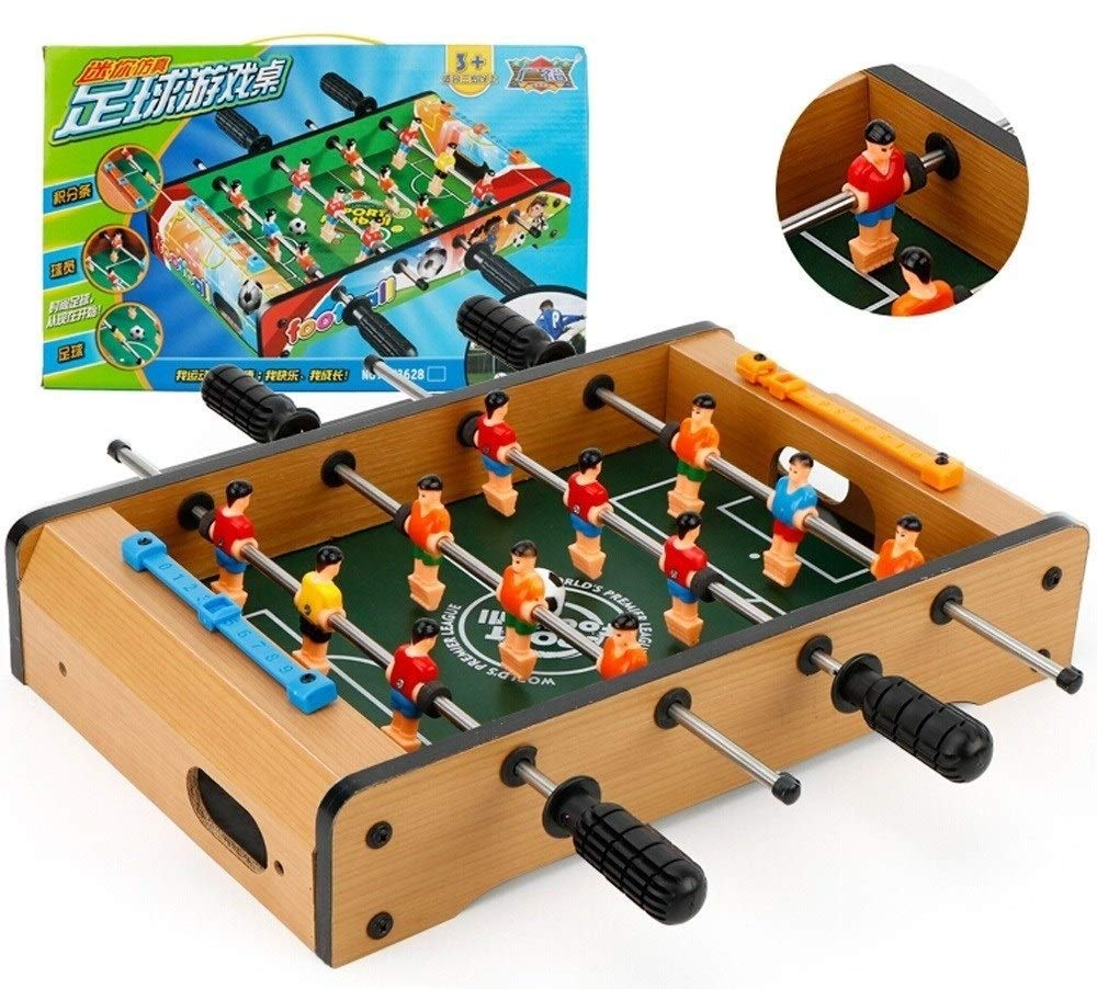 HHtoy Indoor and Outdoor Deluxe Mini Wooden Table Top Football Foosball Family Fun Game Party Kids Play Toys - Soccer Set Includes Player, 2 Balls,Integral Bar (Size : Medium) by HHtoy