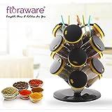 Floraware Plastic Revolving Spice Rack Set, 15-Pieces (Yellow)