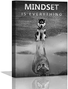 Modern Motivational Wall Art Decor for Bedroom Canvas Wall Art Mindset is Everything Inspirational Wall Art for Office Wolf Motto Artwork Wall Decor Black and White Wall Art Canvas Framed 12x16inch