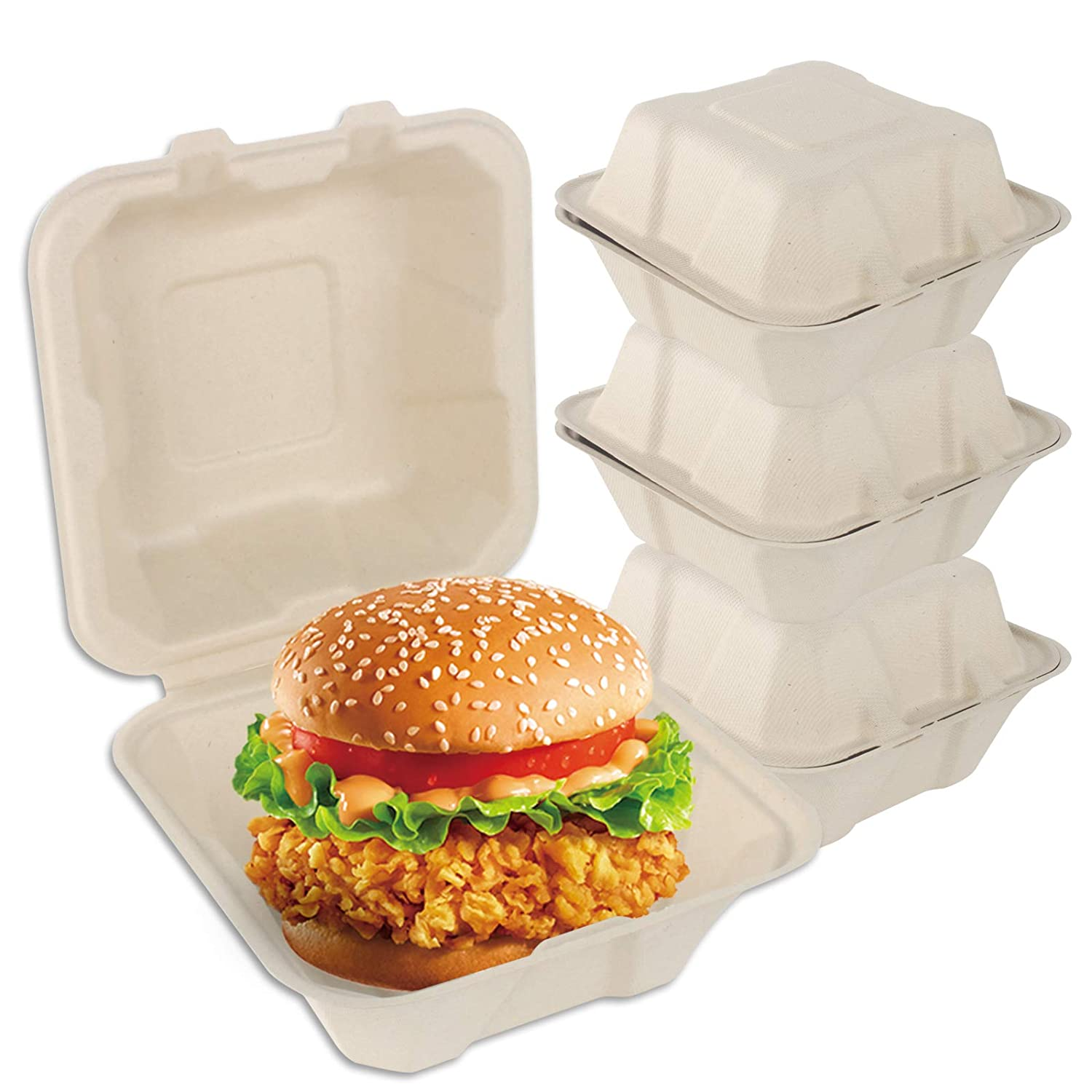 """30 6x6x3"""" Clamshell Food Containers-Compostable Takeaway Boxes, Made of 100% Biodegradable Unbleached Sugarcane Fiber, Alternative to Polystyrene Foam and Plastic, Microwaveable"""