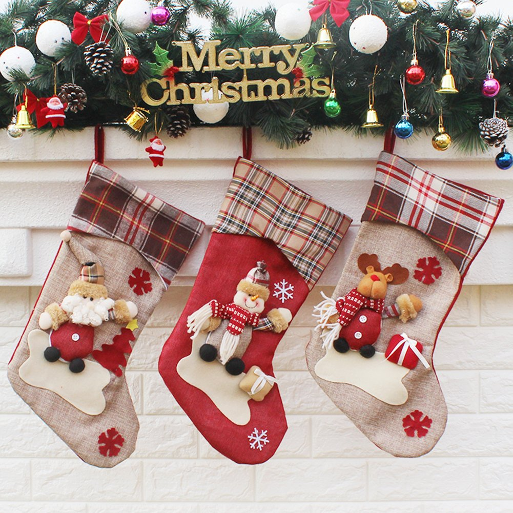 Sets of 3 3D Christmas Character Stockings for Kids