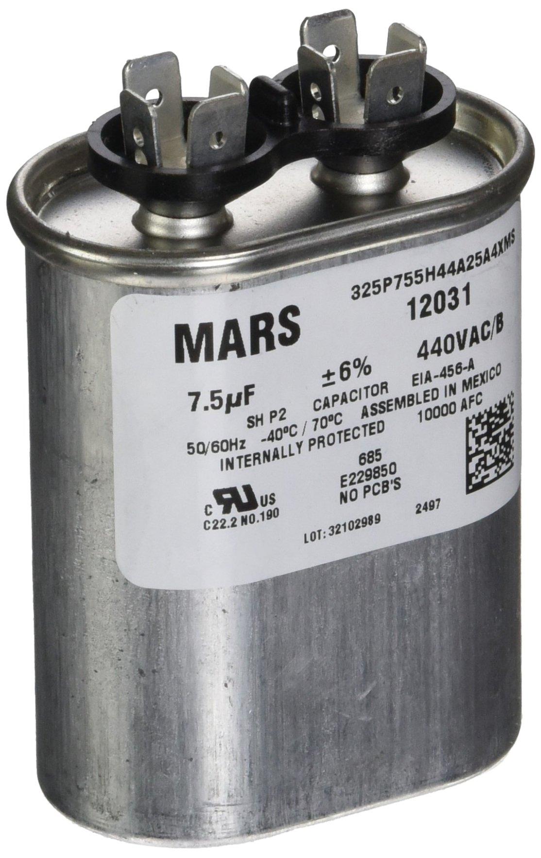 MARS - Motors & Armatures 12031 7.5 Micro-Farad Single Section Run Capacitor, Oval by MARS - Motors & Armatures