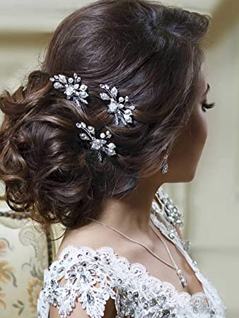 0a6e245c80550 Image Unavailable. Image not available for. Color  Unicra Gold Wedding  Flower Hair Pins Bridal Headpiece ...