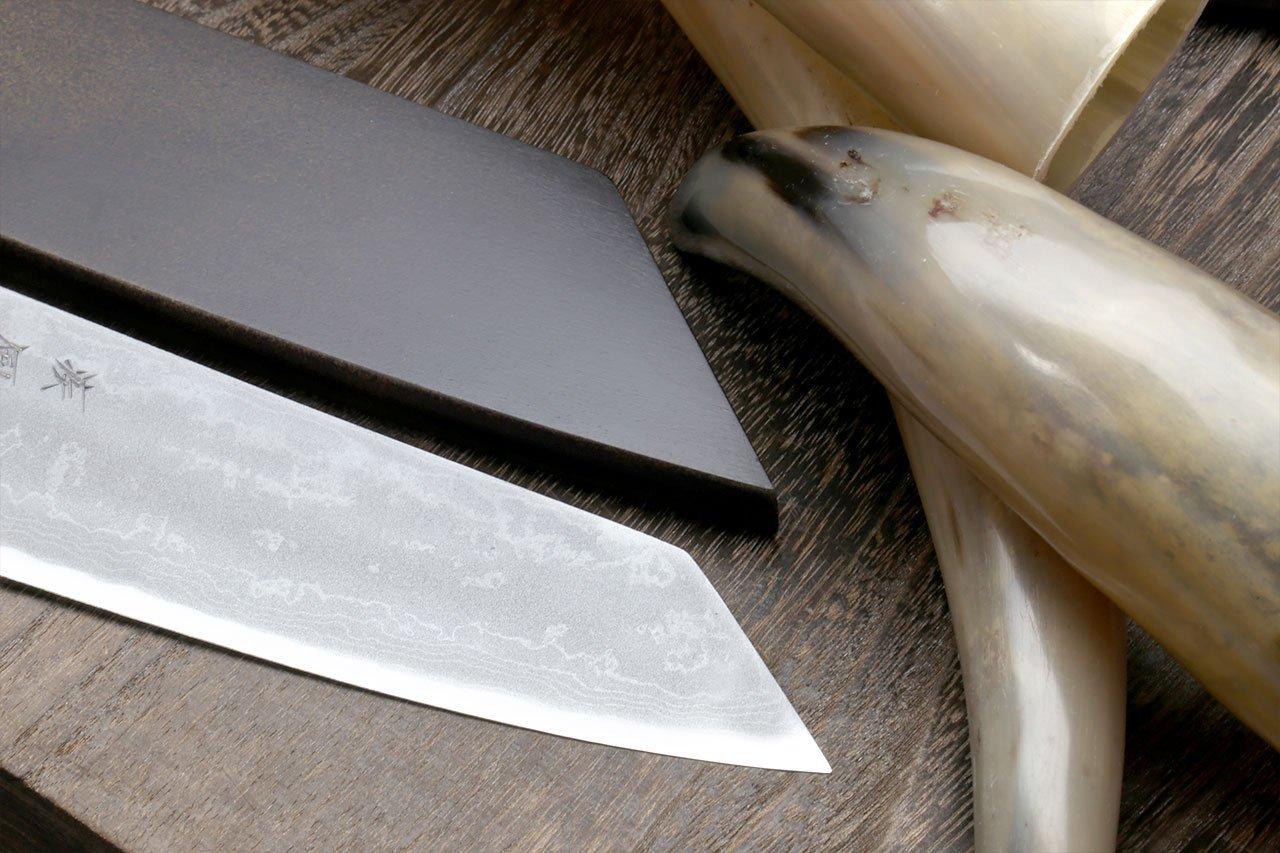 Yoshihiro Mizu Yaki 16 Layers Suminagashi Blue Steel #1 Kiritsuke Multipurpose Japanese Chef Knife, Shitan rosewood Handle (8.25 IN) with Nuri Saya Cover by Yoshihiro (Image #6)