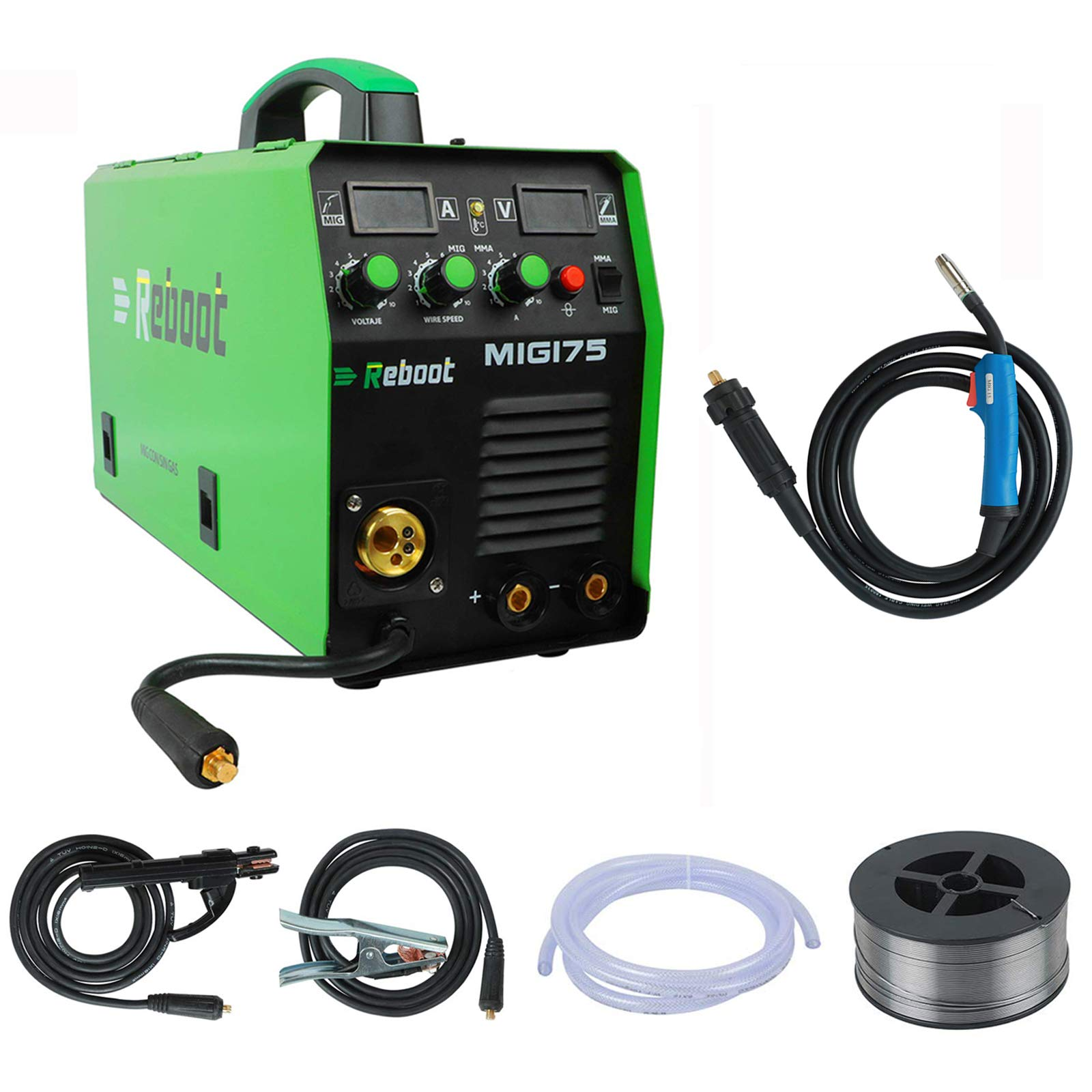 REBOOT MIG Welder MIG-175 Gas/Gasless DC 220V 1KG/5KG 2 in 1 Flux Core Wire and Solid Wire IGBT Inverter Welding Machine High Duty Cycle Stick Welder for Home DIY Stainless steel,Mild Steel,Aluminum by Reboot