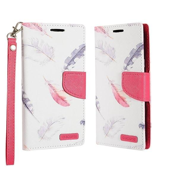 hot sale online ac3f8 17354 Amazon.com: Samsung Galaxy J3 Eclipse Wallet Case - (Feathers) PU ...