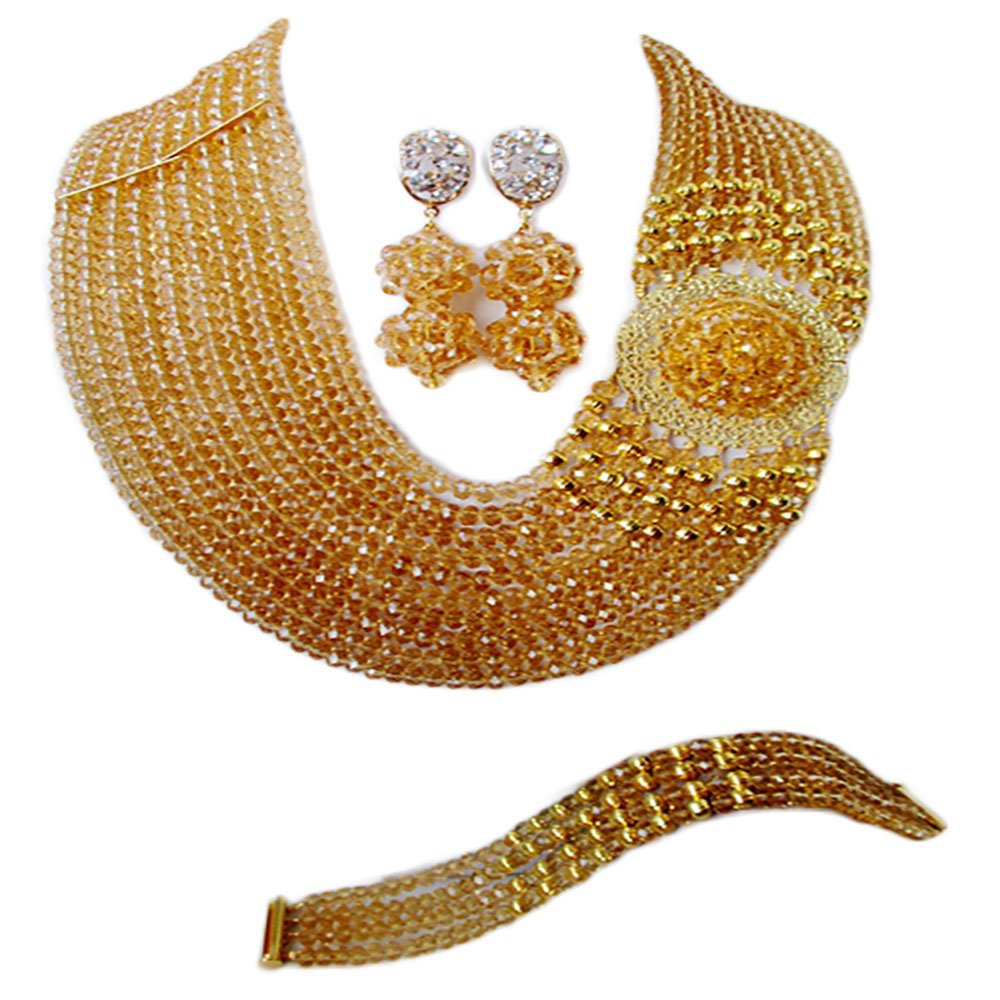 laanc Nigerian Wedding Africa bead 10Rows Gold Champagne Crystal C-Chain Necklace Bracelet Earrings Jewelry Set