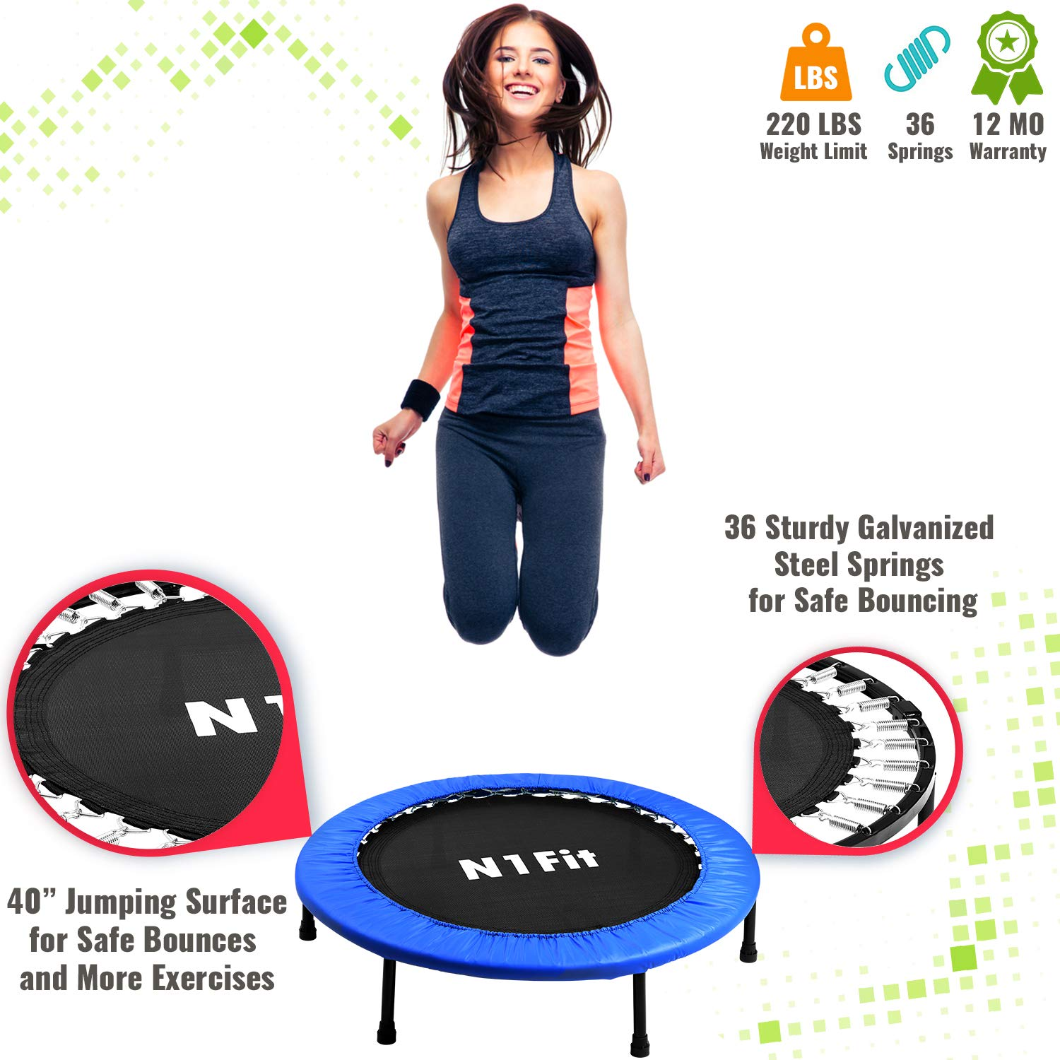 N1Fit Mini Trampoline for Adults - Exercise Trampoline, Mini Trampolines, Personal Trampoline, Trampoline Small Indoor, Rebounding Tiny Trampoline with Springs System for Home Cardio Workouts 40'' by N1Fit (Image #1)