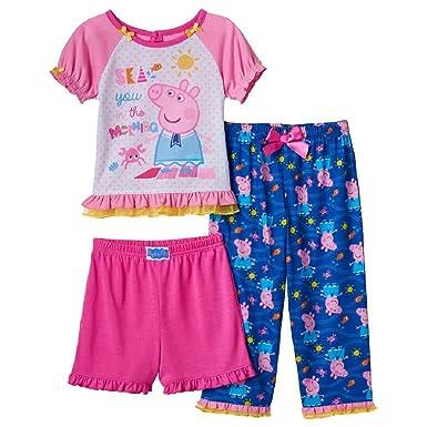 4eee21c45 Peppa Pig Pajamas Set 3 Piece Short Pants Shirt Toddler Girls Pajama Size 2T