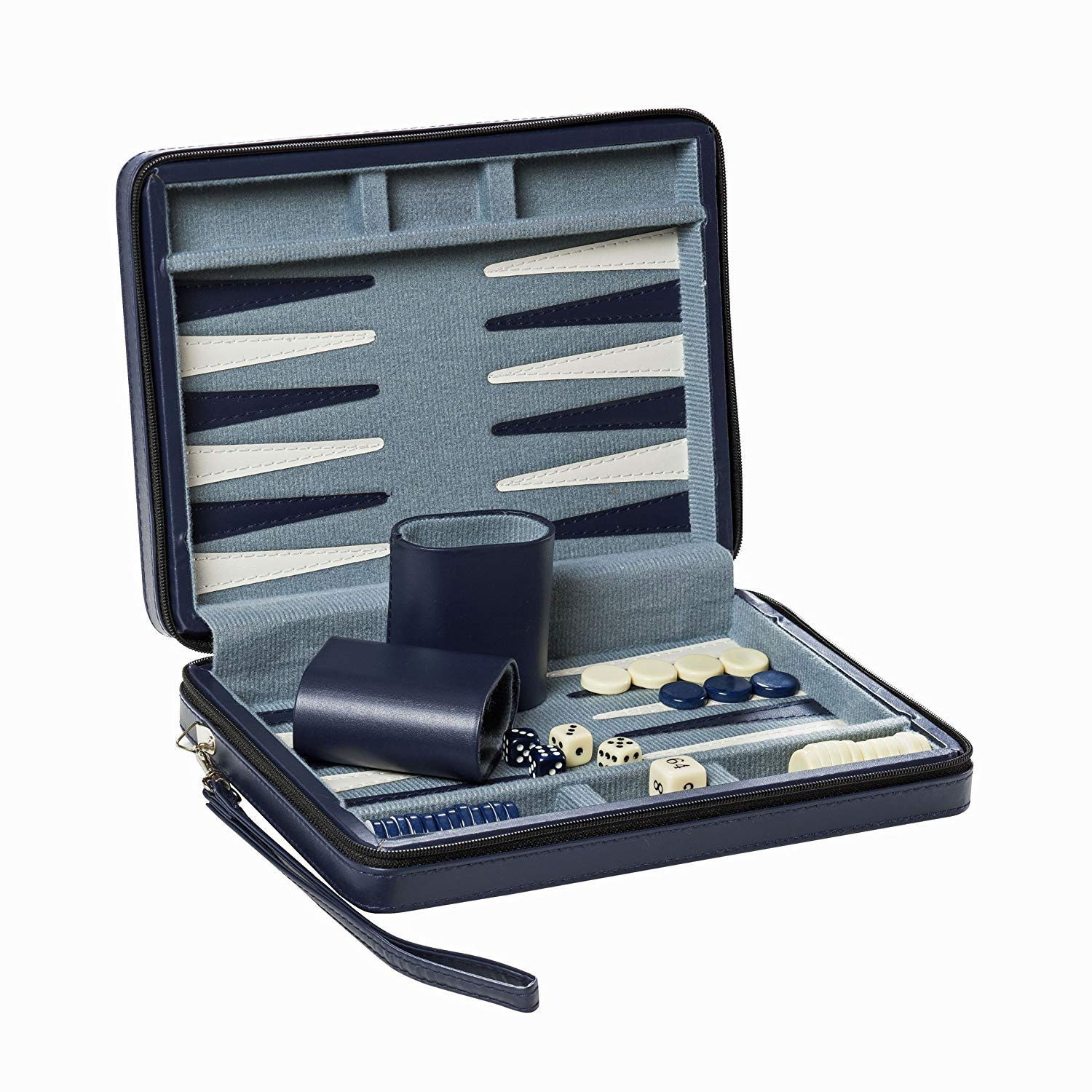 Wood Expressions WE Games Blue Magnetic Backgammon Set with Carrying Strap - Travel Size by WE Games (Image #4)