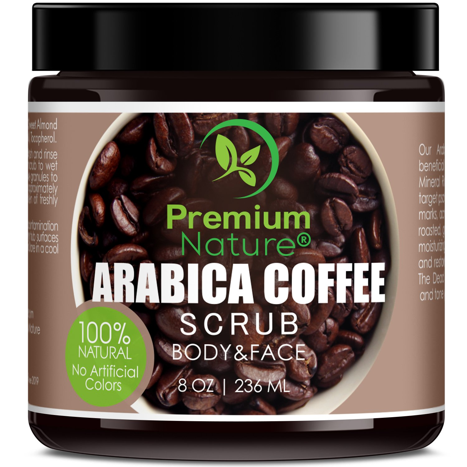 Exfoliating Arabica Coffee Body Scrub – Best Skin Exfoliator for Face Hand Lip & Body with Sea Salt & Shea Butter, Acne & Eczema Treatment, Exfoliate Moisturize, Stretch Mark Scar & Cellulite Remover