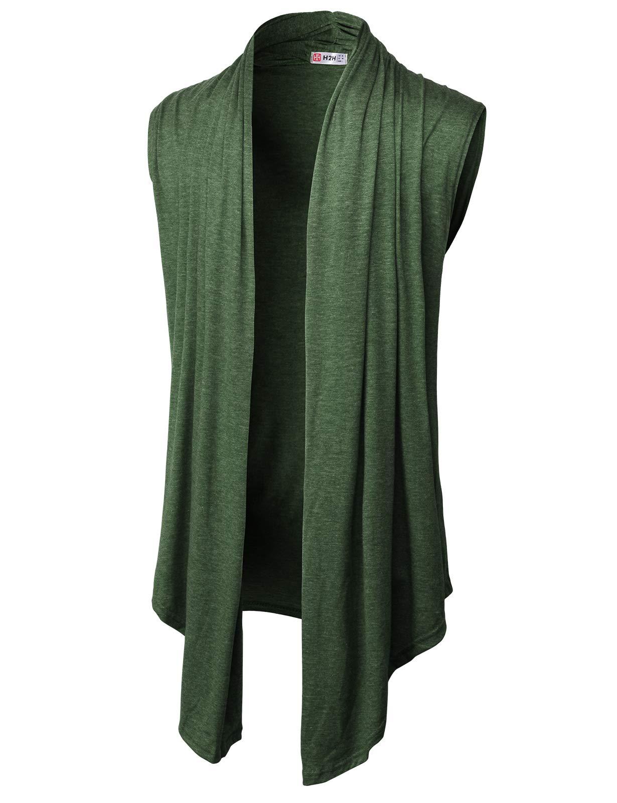 H2H Men's Ruffle Shawl Collar Sleeveless Cardigan Lightweight Cotton Long Length Drape Cape Vest DARKOLIVE US M/Asia L (CMOCASL01)
