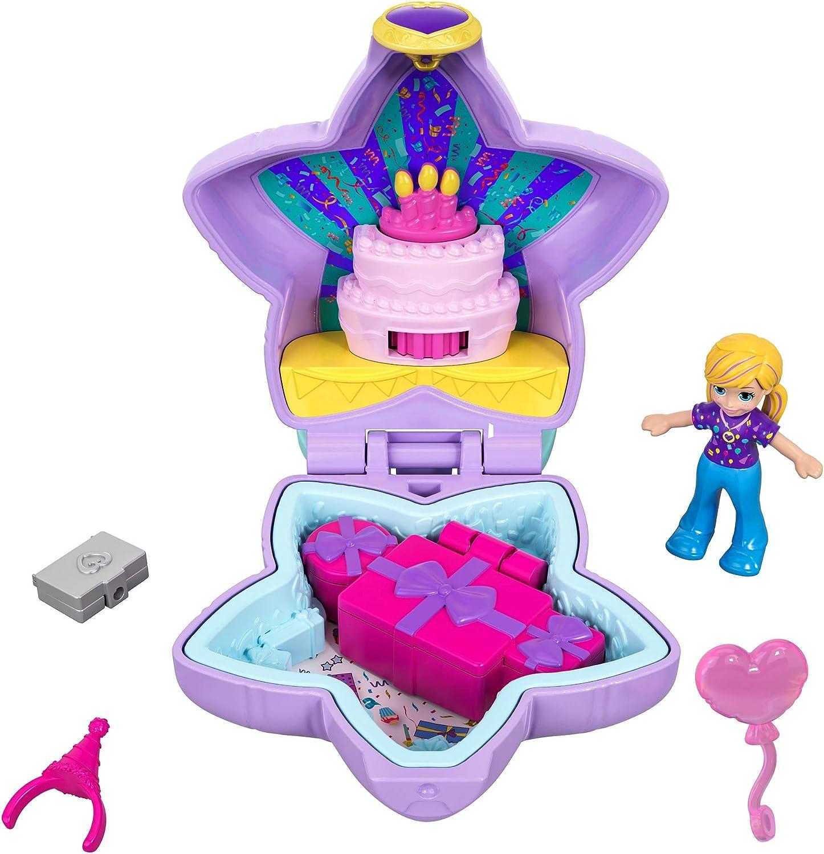 Polly Pocket Mini Cofre Fiestad de cumpleaños sorpresa, muñeca con accesorios (Mattel GFM53)