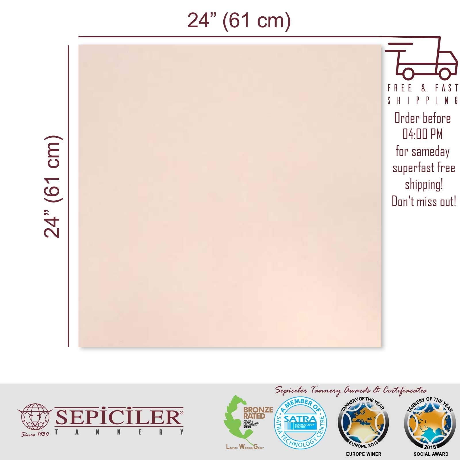 Sepici Leather | Veg-Tanned, 7/9 Oz. (2.8-3.6 mm) Natural 24''x 24'' Pre-Cut Pieces for Tooling, Crafting and Wet molding.