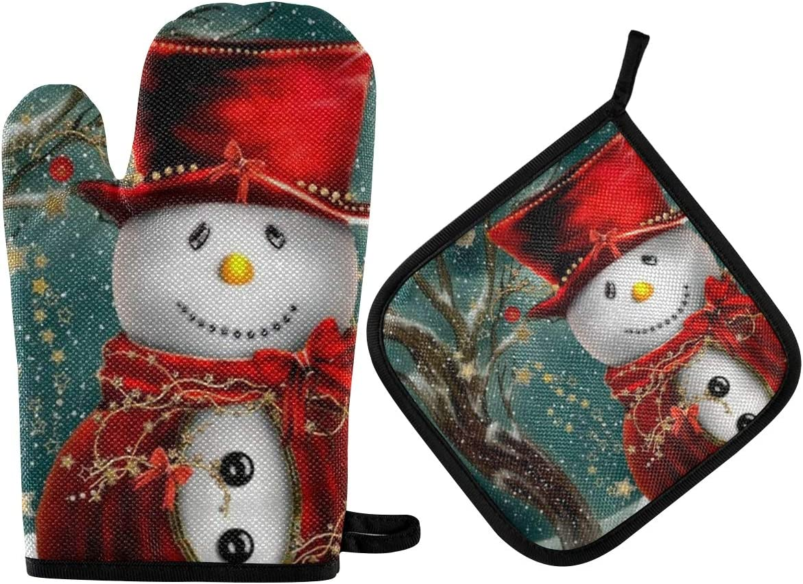 ALAZA Cute Snowman Oven Mitts and Pot Holders Sets Heat Resistant Kitchen Oven Gloves Potholder Hot Pad for Cooking Baking Grill