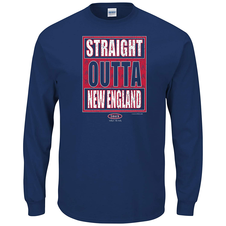 Sm-5X Smack Apparel New England Football Fans Navy T-Shirt Straight Outta New Englandw England