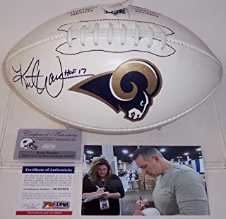 Kurt Warner Autographed Hand Signed St. Louis Rams Full Size Logo Football - with Hall of Fame 2017 Inscription - PSA/DNA
