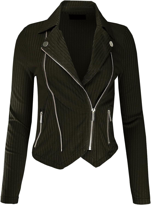 Ladies Code Womens Asymmetrical Zip-Up Moto Jacket