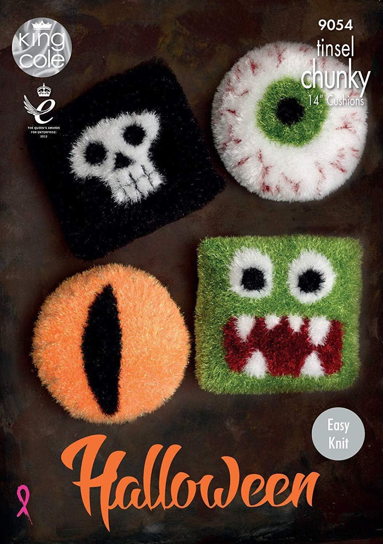 King Cole Tinsel Chunky Knitting Pattern Halloween Cushions - 18