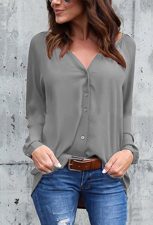 Minetom Chiffon Camicia Donna Signora OL Elegante Maniche Lunghe Bluse  Maglia Casual Shirt Sexy V Scollo Tops Primavera Magliette  Amazon.it   Abbigliamento 9662a3b0e1a