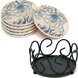 Round Coasters & Holder Bundle - 6 Pack Absorbent Cup Mats PLUS Black Iron Holder - ENKORE Classic Coaster Set Keep Your Table Top Clean & Tidy Without Sacrificing Style, Cork Back & Felt Pad Included