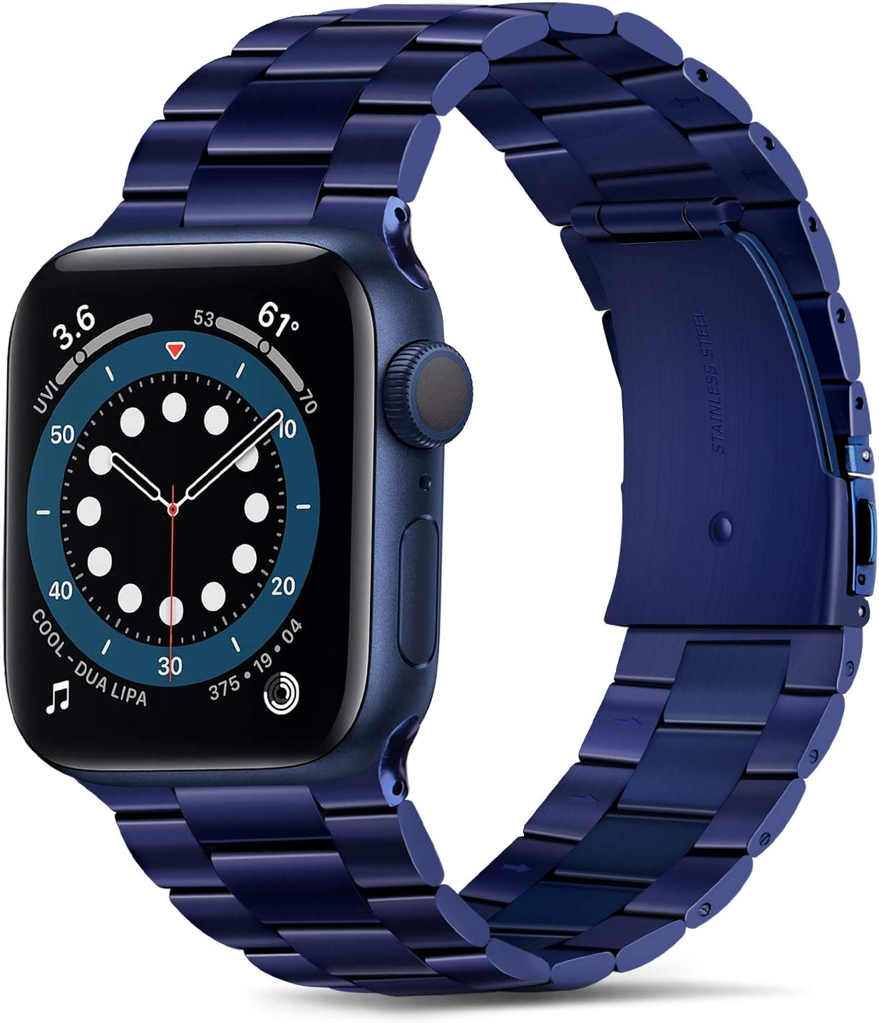 Tasikar Band Compatible with Apple Watch Band 44mm 42mm Premium Stainless Steel Metal Replacement Strap Compatible with Apple Watch Series 6 5 4 3 2 1, SE (Blue)
