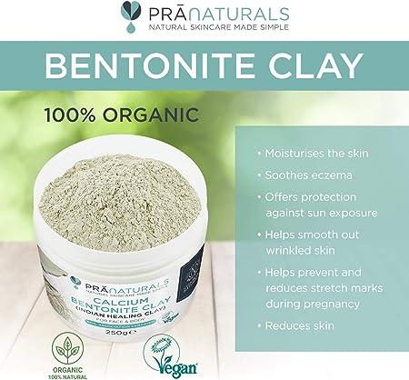 Mascarilla de arcilla bentonita, 250g, limpieza profunda de los poros de la piel, máscara de arcilla en polvo puro, 100% orgánica, antiedad, de la marca Pranaturals