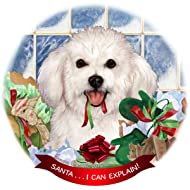 Bichon Frise Dog Porcelain Hanging Ornament Pet Gift 'Santa.. I Can Explain!' for Christmas Tree and Year Round
