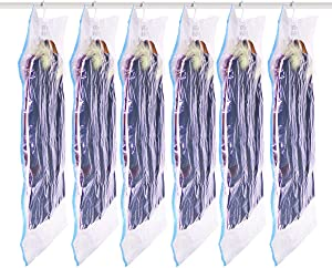 Fullplus Hanging Vacuum Space Saver Bags, Closet Organizer Storage Bags, Set of 6(57x27in),Vacuum Seal Clear Bags for Clothes, Suits, Dress or Jackets