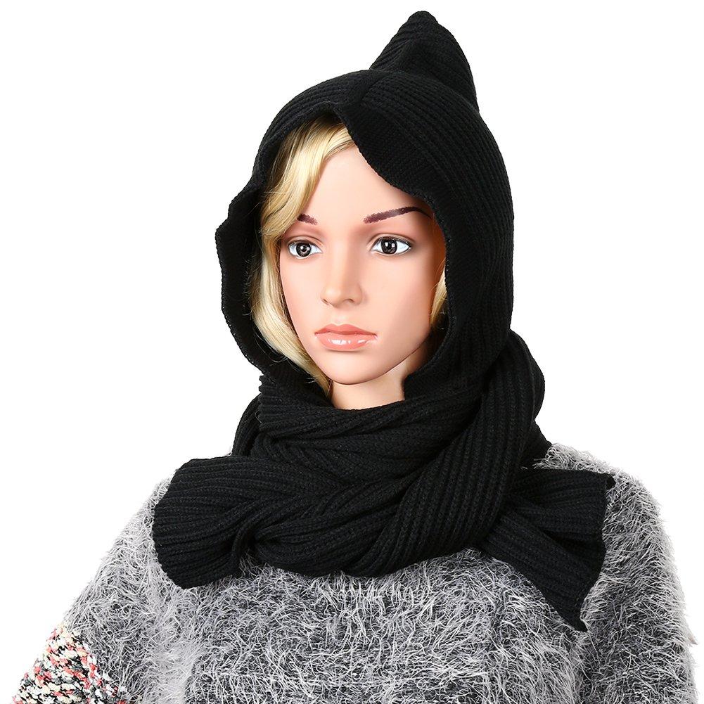 Vbiger Women Winter Hooded Scarf Neckwarmer Knit Scarf Fashionable Shawl Wrap