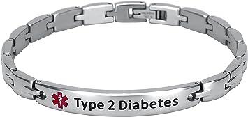 5ebb49f9438c7 Elegant Surgical Grade Steel Medical Alert ID Bracelet For Men and Women  (Women's, Type 2 Diabetes)