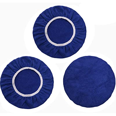 Mini Skater 3 Pcs Car Polishing Pads Bonnet with Elastic Band Soft Microfiber Washable Reusable Waxer Buffing Cover for 7 to 8 Inch Car Polisher (7-8 inch): Automotive