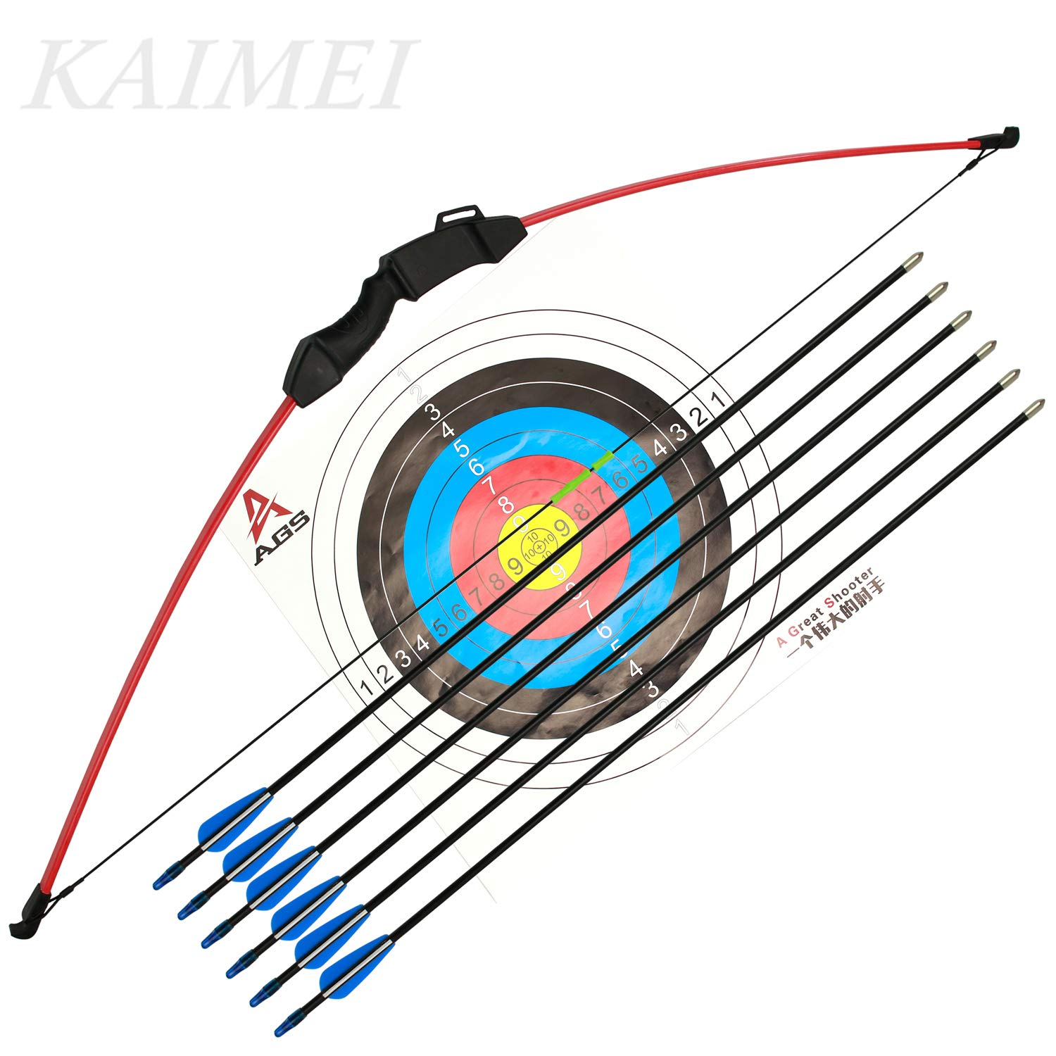 kaimei 43 Inch Recurve Bow Archery Red Limbs for Youth Beginner Practice and Outdoor Shooting Right and Left Hand with 6 Fiberglass Arrows and 2 Target Paper
