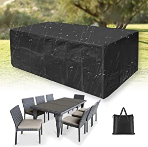 Outdoor Patio Furniture Cover, Waterproof Oxford 420D Patio Table Seat Covers, Windproof, Tear-Resistant, Anti-UV 124 x 71 x 36inch (420D)