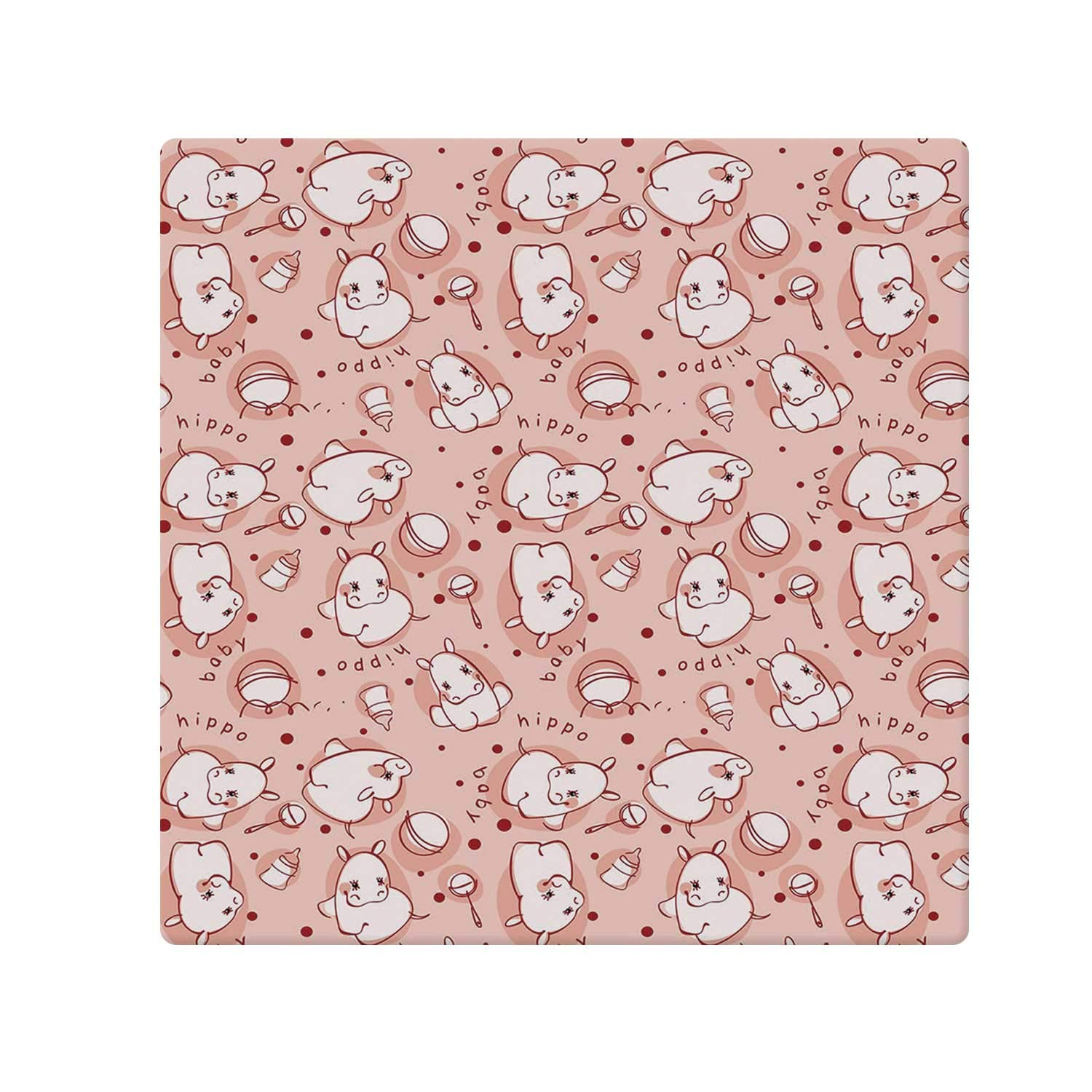 C COABALLA Kids Decor Comfortable Doormat,Cute Baby Hippo Pattern Lovely Wild Animal Girls Boys Playroom Concept for Home Office,70.8'' W x 70.8'' L by C COABALLA