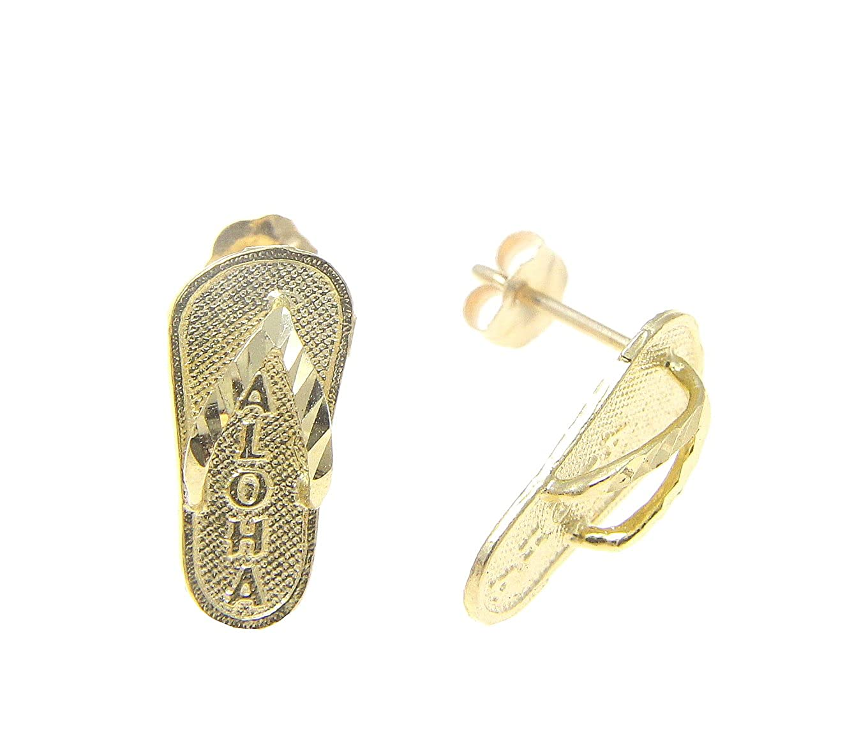 14k yellow gold Hawaiian 6.8mm slipper flip flop thong aloha earrings