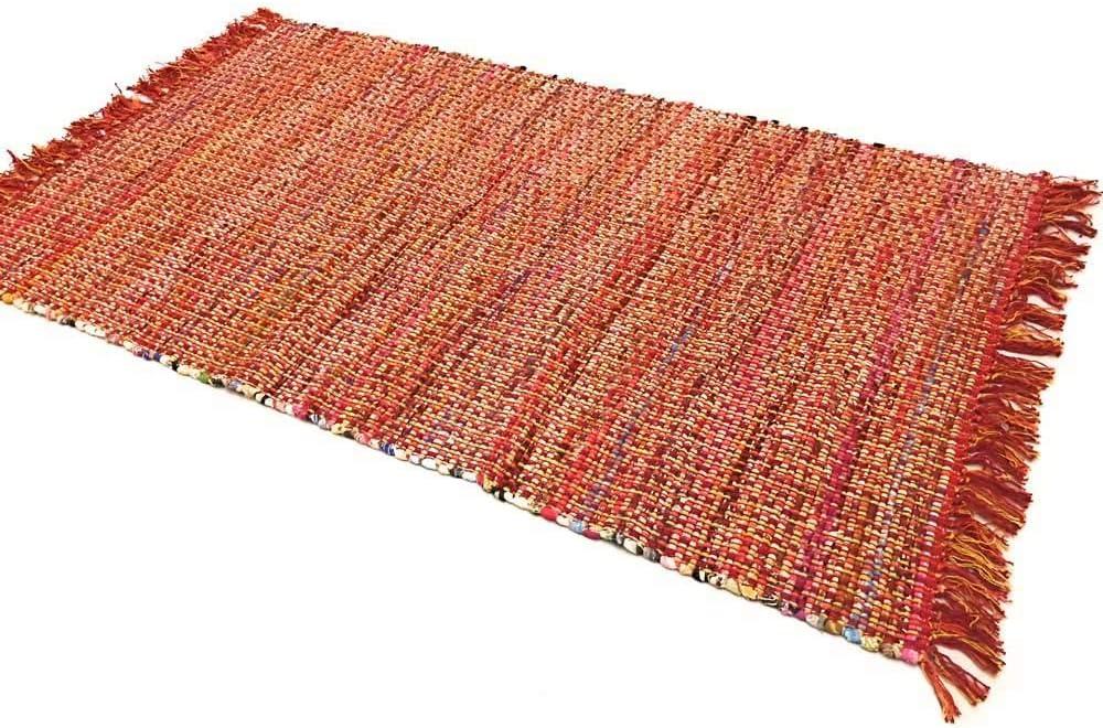 Second Nature Online - Alfombra de algodón Grueso con Punto de Cruz, Color Rojo, 120 cm x 180 cm: Amazon.es: Hogar