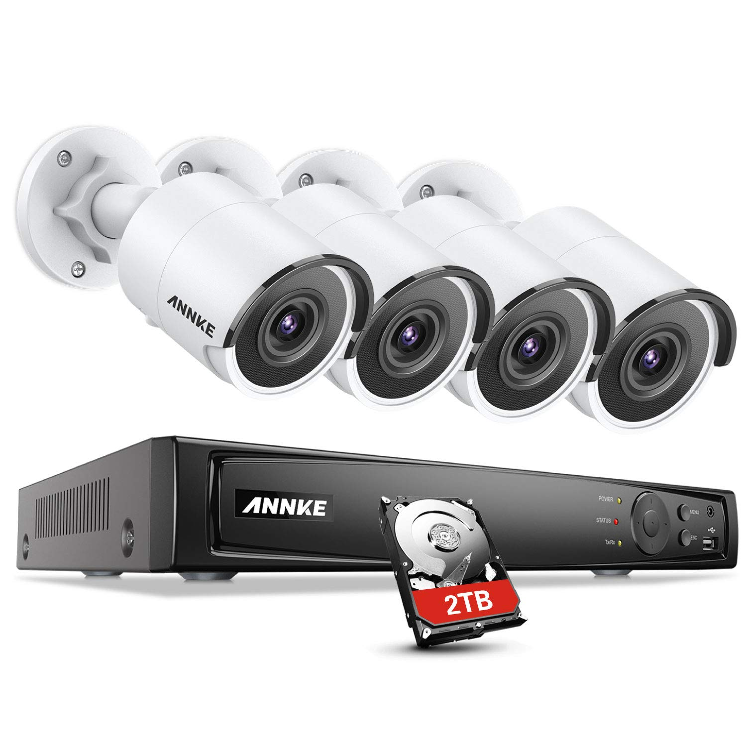 ANNKE 4K PoE Security Camera System 8CH H.265 NVR and 4pcs Ultra HD 8MP Outdoor Wired IP Cameras 2TB HDD, 100ft Night Vision,IP67 Weatherproof, Video Surveillance with Motion Detect Smart Playback by ANNKE