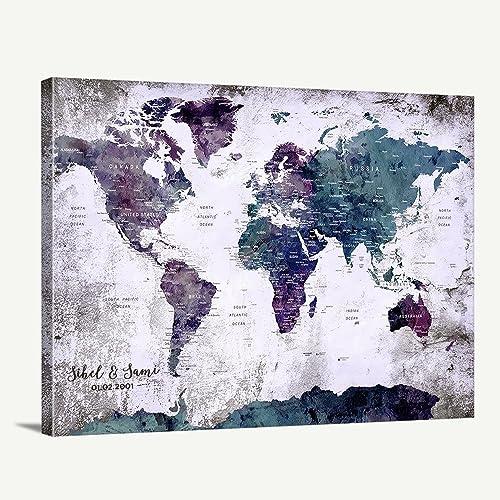 Amazon custom world map canvas print world map push pin custom world map canvas print world map push pin travel map wall art canvas print gumiabroncs Image collections