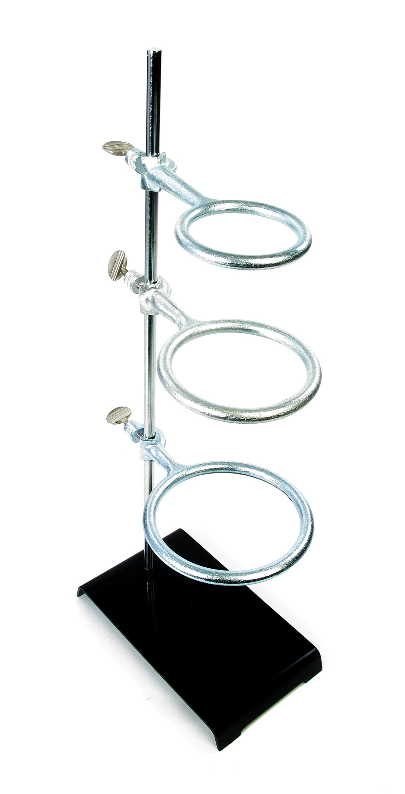 American Educational Stamped Steel Support Ring Stand with 3 Rings, 8'' Length x 5'' Width Base Size by American Educational Products