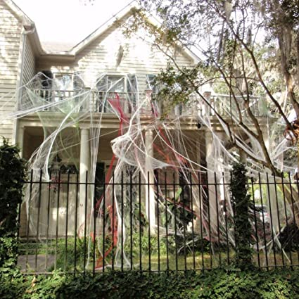 halloween spider webs stretchable 400 square feet extra large indoor outdoor spooky