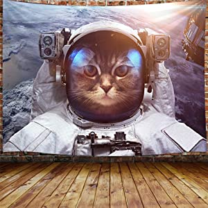 Outer Space Tapestry Wall Hanging, Astronaut cat Kitty Earth Planet Universe Galaxy Home Art Wall Decor Large Tapestries for Bedroom Living Room College Dorm 71X60 Inches