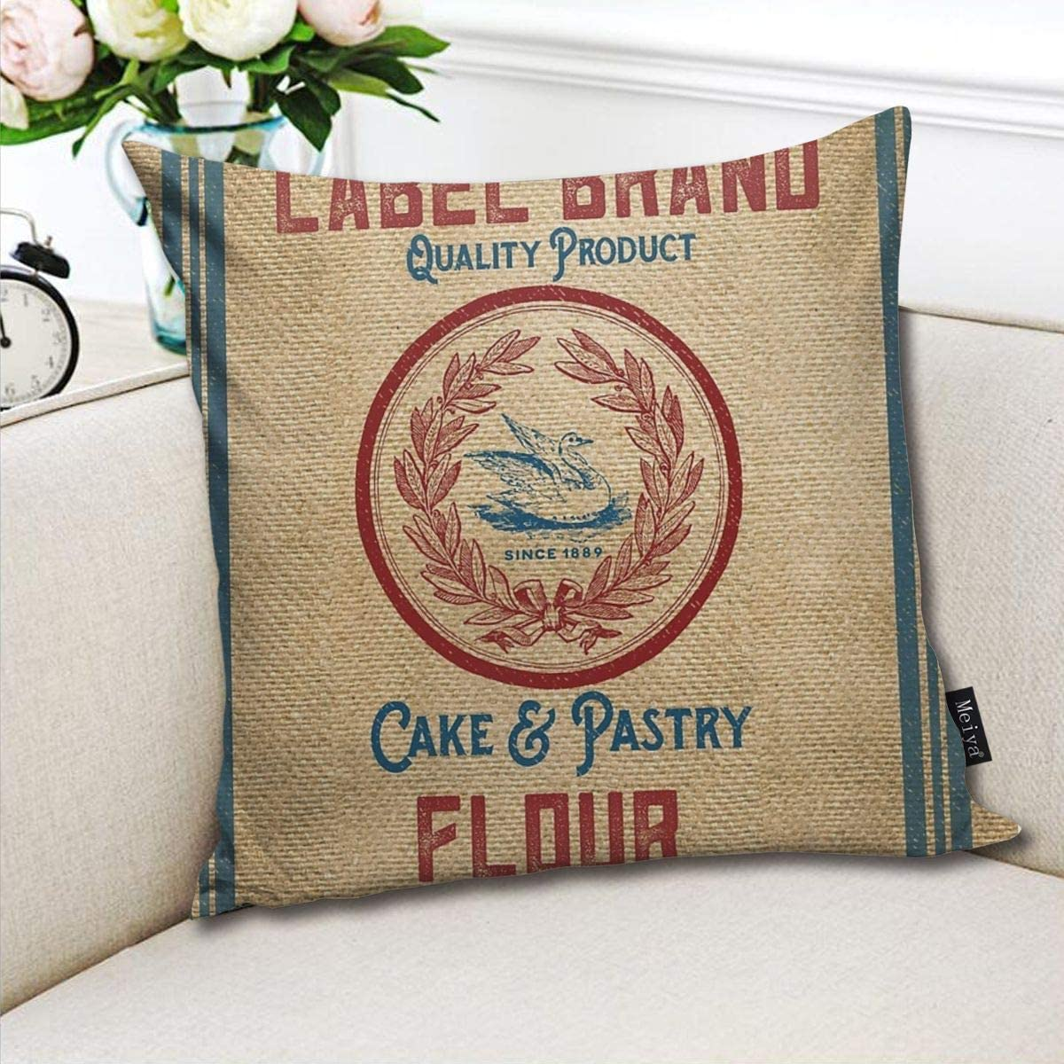 FamilyToy Throw Pillow Cover Case for Bedroom Couch Sofa Home Decor Vintage Vintage Burlap Like Flour Sack Pattern Square 18x18 Inches
