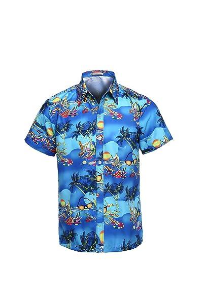 Yacun Hombres Camisas Hawaianas De Manga Corta Casual Tops Floral Beach ry8Zn2x