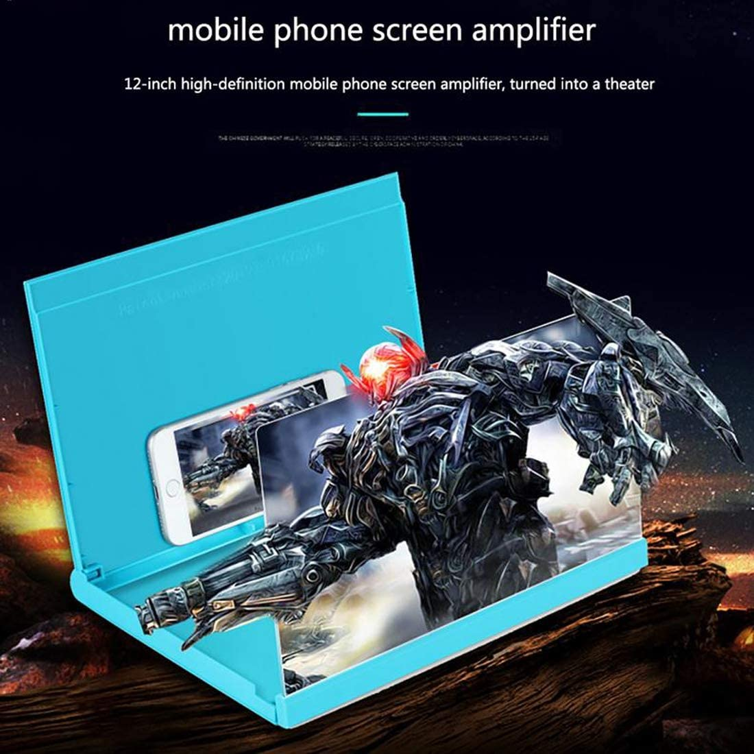 NIULLA 12 Inch Universal Foldable Mobile Phone Screen Expander Creative Movie Display Video Expander 3D HD Phone Screen Amplifier Travel Stand,Blue