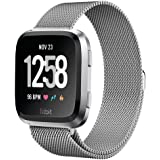 YOCHOS for Fitbit Versa Bands Women Men Small Large, Milanese Loop Stainless Steel Metal Replacement Bracelet Strap with Unique Magnet Lock Accessories Wristbands for Fitbit Versa Fitness Smart Watch