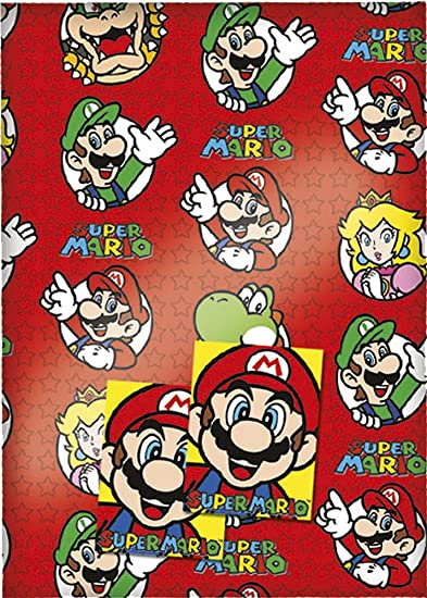 Super Mario Gift Wrap, 2 sheets & 2 tags