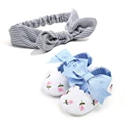 Baby Girl Shoes Mary Jane Anti-Slip Soft Sole Infant Floral Princess Crib Shoes with Headband Prewalker Dress Toddler Shoes(12-18M)